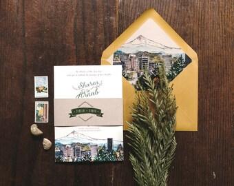 Rustic Watercolor Wedding Invitation Portland Oregon
