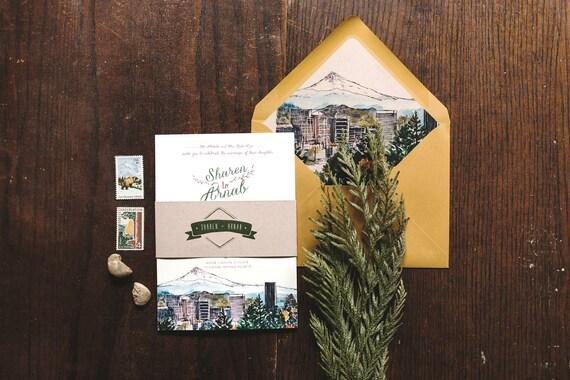 Wedding Invitations Portland Oregon: Rustic Watercolor Wedding Invitation: Portland Oregon