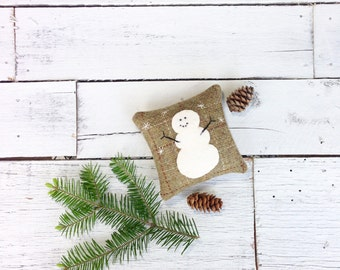 Little Snowman Pillow, Christmas Pillow, Rustic Snowman Pillow, Snowman Decor, Winter Decor, Rustic Christmas, 4 inch Square Balsam Pillow