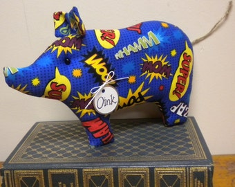 Super Hero Pig - Made To Order, Primitive Pigs, Pig Decorations