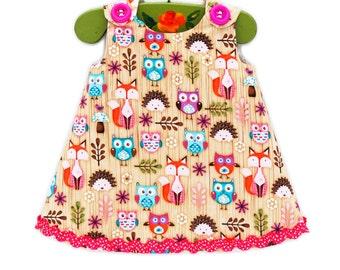 Owl Fox Canbin Baby Dress - Baby Toddler Dress - Toddler Cotton Dress - Girls Dress - Kids Fashion - Toddler Girls - KK Children Designs