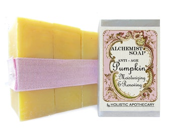 Anti - Age PUMPKIN Renewal Soap with Organic Oils & Pumpkin Puree Handmade ~  Pure ~ Unscented Complexion Bar Set of 3