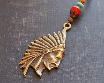 Native American Necklace Head Dress Tribal Chief Necklace Native Warrior Native American Feather Jewelry Bohemian Tribal Necklace Southwest