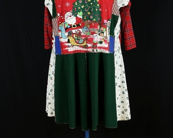 Lagenlook Plus size holiday tunic 3X Christmas tunic Refashioned clothing Upcycled Tunic dress 4X  Wearable art bohemian Holiday dresses