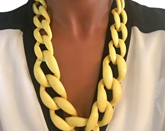Skinny Link Necklace Yellow