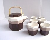 Vintage 1980s Brown Stripe Stoneware Tea Pot and (6) Tea Cups