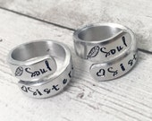 Best Friend Rings - BFF Rings - Soul Sisters Rings - Matching Friendship Rings - Greek Sister Rings - Hand Stamped Rings - Set of 2 Rings