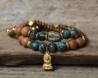 Buddha Bracelet, Pyrite Bracelet, Sandalwood Bracelet, Stacking Bracelet, Stretchy Bracelet, Yoga Bracelets, Mala Bracelets, Boho Bracelets