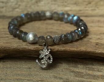 Om Bracelet, Labradorite Bracelet, Diamond Bracelet, Pearl Bracelet, Stretch Bracelet, Charm Bracelet, Tahitian Pearl Bracelet, Diamond