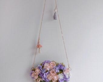 Rosie Flower Vase - purple floral shoulder bag