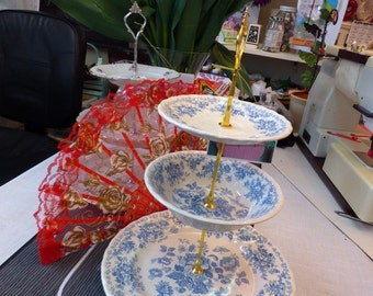 Blue & White Vintage English Stoneware 3-Tier Tea/Cake Candy Stand or Jewelry Display