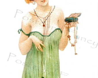 ART NOUVEAU Kirchner Antique Postcard, Pretty Lady with jewelry, Instant Digital Download