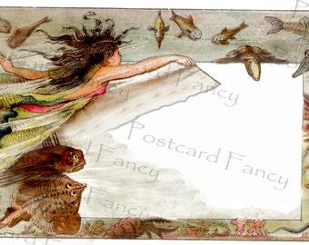 FAB FANTASY Fish and mermaid, Vintage Postcard Illustration, Instant Digital Download