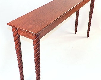 Cherry Console Hall Sofa Table With Tapered Spiral Ball Foot Legs Made In  USA Very Unique