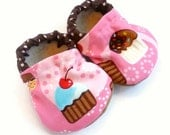 cupcake shoes baby shoes cupcake booties pink and brown pink cupcake slippers baby shoes cupcake clothing baby girl soft sole shoes cupcake
