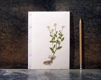 Chamomile. Botanical Notebook. Daisy. Embroidered Notebook. Chamomile Notebook. Garden Journal. Daisy Journal. Spring Notebook. A5 Notebook
