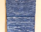 """Hand Woven Rag Rug - Denim Floor Runner Blue Hem 22"""" x 75"""""""