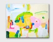 Geometric pastel painting Abstract art canvas Abstract pastel art Geometric canvas painting Modern acrylic painting Nursery art Acrylic art