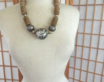 Vintage 70s Bold Necklace with Large Mosaic Abalone Pendent and Disk Beads OOAK