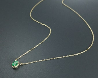 Solid gold emerald necklace Dainty emerald necklace Emerald solitaire pendant
