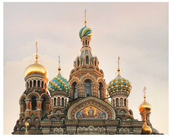 Architectural print, Russian Church Domes, Cathedral architecture art, St Petersburg photography, large wall art, 11x14, 16x20, 24x30 print