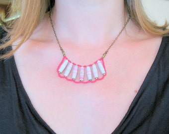 Pink and White One of a Kind Paper Bead Necklace -OOAK Daydream Necklace- Handmade Recycled Bead and Brass Chain Necklace- 1st Anniversary