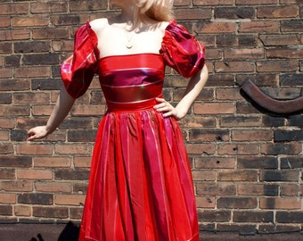 GYPSY 1970's Iridescent Red Taffeta Off Shoulder Peasant Dress with Puff Sleeves