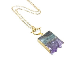 Amethyst Slice Necklace, Amethyst Necklace, Amethyst Toggle Necklace