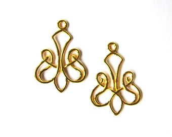 NEW! Vermeil Earring Component 2 pc Celtic Scroll Chandelier 24mm