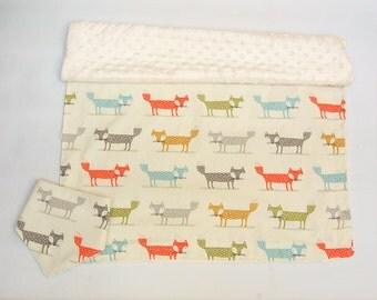 Fox Blanket, Personalized Baby Blanket, Minky Blanket, Blanket & Bib Gift Set, Woodland Nursery, Plush Blanket, Crib Blanket, Play Blanket