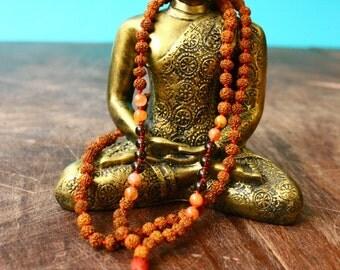 Itty Bitty Rudraksha Gemstone Mala Beads Knotted 108 Mala Carnelian Smoky Quartz Silk Mala Tassel Necklace Spiritual Jewelry Japa Yoga Beads