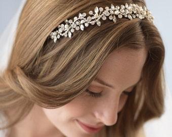 Pearl & Crystal Headband, Crystal Wedding Headband, Rhinestone Wedding Headpiece, Floral Bridal Headband, Crystal Bridal Headpiece ~TI-3231