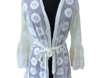 Vintage 70's Floral Cream White Cardigan Top w/ Long Bell Sleeves