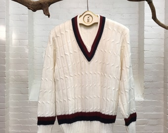 vintage white tennis sweater // men's medium pullover // 1970s