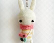 Crochet Bunny Instagram Keychain, Crochet Keychain, Amigurumi Bunny Plush Keychain, Clip On Keychain, Clip On Charm, Gift for Her