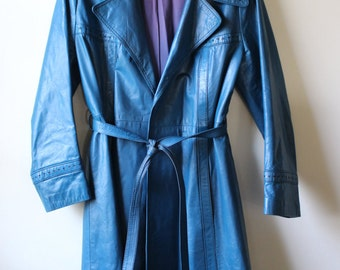 Far Out 1970s Teal Leather Long Wrap Trench Coat
