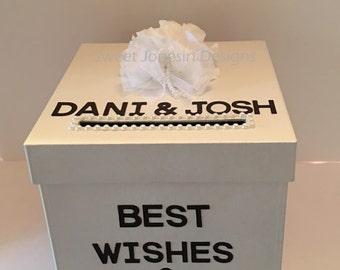 White  Card Box Best Wishes  Money Holder Advice Bridal Shower Wedding