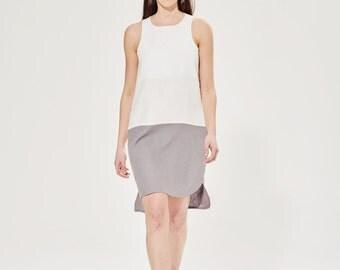 Color Block Dress / Short Tank Dress / Bicolor Linen Dress / Minimalist Dress / Wedding Dress / Summer Linen Dress