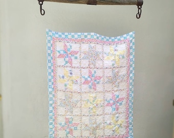 Vintage Baby Quilt, 8-Point Star Lemoyne Pattern, Blue, Yellow, Pink and White