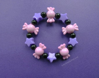 Pink Candy Purple Stars Bracelet- -Kawaii- Gothic- Pastel Goth- Gothic Lolita- Sweet Lolita-JFashion- Harajuku- Fairy Kei- Creepy Cute