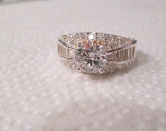 BEAUTIFUL Art Deco Retired Diamonique CZ Simulated DIAMOND Sterling Silver 9ct Engagement Ring Sz7 Sparkles Clear Cluster Retail 175.00