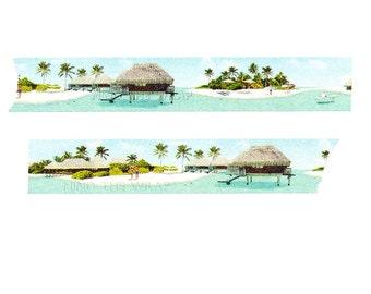 "Masté ""Maldives"" Japanese Washi Tape - 25mm x 7m - Tropical Islands Beach Resort Vacation Travel"