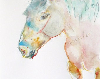 DRAFT HORSE  - Original watercolor - wall art -Color