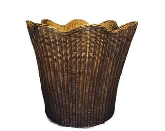 "BIG Wicker Basket Scalloped Edge Lotus Basket Laundry or Planter Basket Storage 25"" Basket Bohemian Planter Southwest Rustic Cottage Chic"