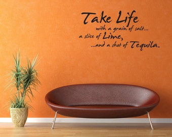Wall Decal Take Life With A Grain Of Salt Inspirational Quotes Wall Decals Wall Sticker Wall Quote Decal (V316)