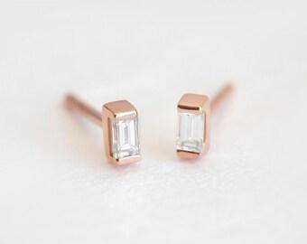 Diamond Earrings, Diamond Stud Earrings, Simple Diamond Earrings, Gold Diamond Studs, Baguette Diamond Earrings, Baguette Studs