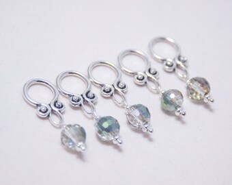 Handmade Snag-free Stitch Markers - Iridescent Crystal Beads - Knitting Jewelry