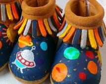 Custom Spaceship Planets Solar System Rocket Man Baby Moccasins