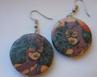 Catwoman Recycled Comic Book Earrings