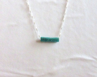 Beaded Necklace, Teal Beaded Necklace, Delicate Beaded Necklace, Unique Beaded Necklace, Tube Necklace, Bar Necklace, Changeable Necklace